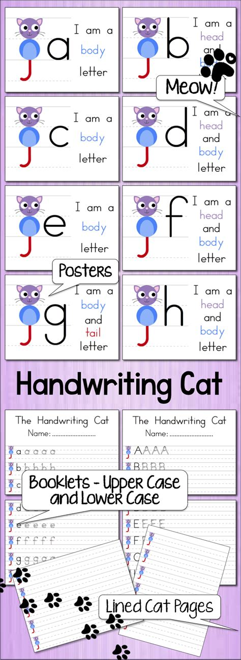 handwriting cat posters booklets  lined pages