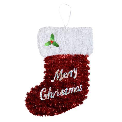 small tinsel christmas stocking crimbo decoration festive plaque wall hanger new ebay