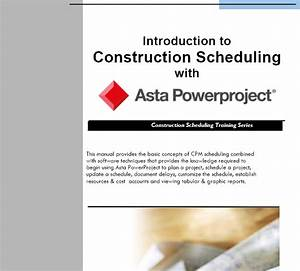 Training Manual Outline  Intro To Asta Powerproject
