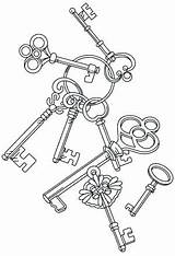 Key Coloring Pages Steampunk Embroidery Keys Heart Adult Skeleton Designs Patterns Drawing Colouring Urban Urbanthreads Tattoo Cascade Threads Machine Unique sketch template