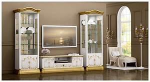 Barock Möbel Weiß : wohnwand rozza wei gold vitrinen tv schrank barock klassik roz 103 ~ Markanthonyermac.com Haus und Dekorationen