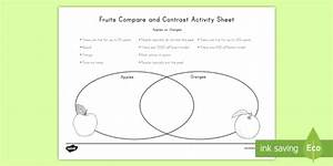 Fruit Compare And Contrast  Apples Vs  Oranges Worksheet