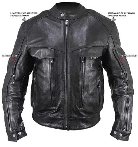 motorcycle jackets for men with armor men 39 s leather cruiser motorcycle jacket with armor