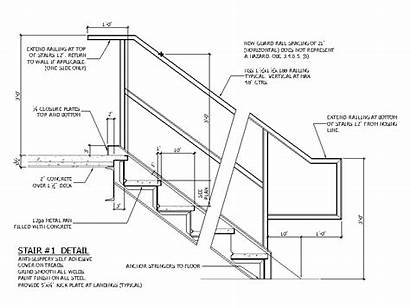 Stair Concrete Pan Cad Architectural Dwg Corner