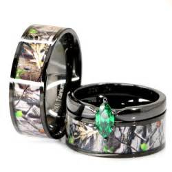 camouflage wedding ring sets his black titanium camo marquise stainless steel engagement wedding rings ebay