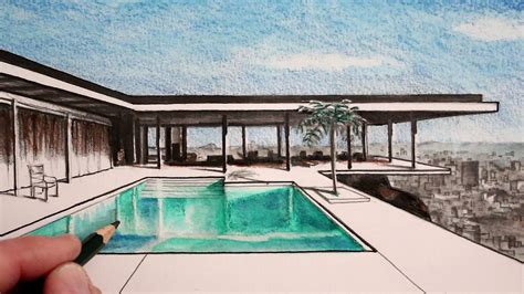 How to Draw a House in Perspective: The Stahl House