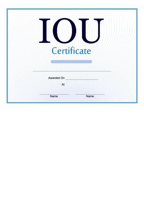 iou certificate printable