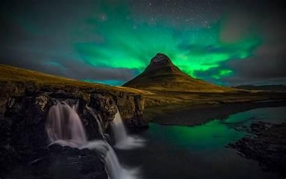 Aurora Borealis Northern Lights Mountain Night Waterfall