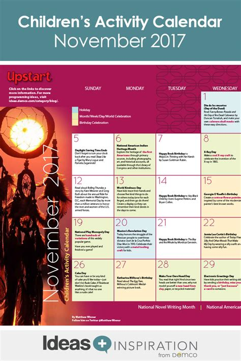 childrens activity calendar november