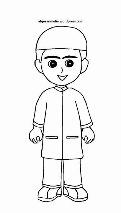 Gambar Anak Kartun Mewarnai Muslim Laki Sekolah