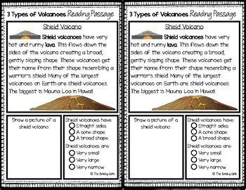 3 Types Of Volcanoes Reading Passages By The Brisky Girls Tpt