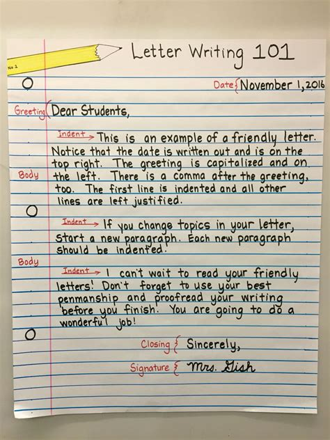 friendly letter anchor chart  grade ideas  school