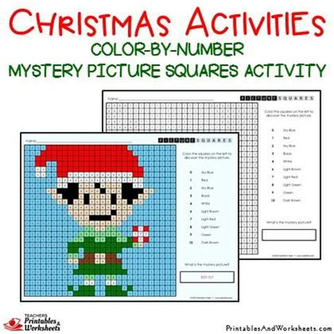 christmas color  number mystery picture activities printables worksheets