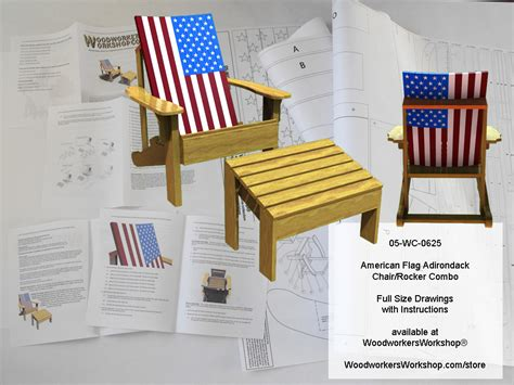 american flag adirondack chairrocker combo woodworking