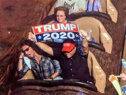 Trump Sign Holding Disney Ride Banned Mountain