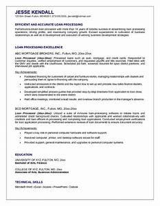 sample of loan processor resume for job application With mortgage loan processor resume template