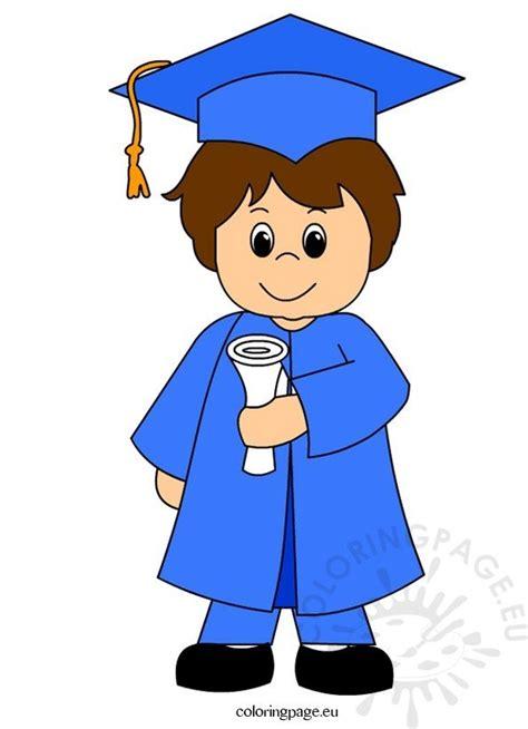 child graduation clip art coloring page