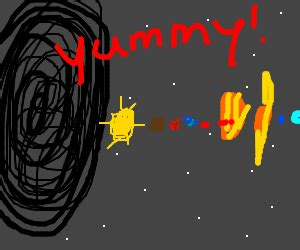 black hole eats solar system drawception