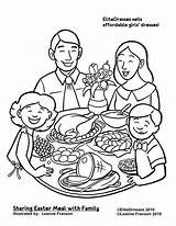 Coloring Dinner Pages Printable Easter Clipart Thanksgiving Christmas Drawing Eating Sharing Together Restaurant Meal Sheets Preschool Print Cameo Coloringpagesgreat Science sketch template