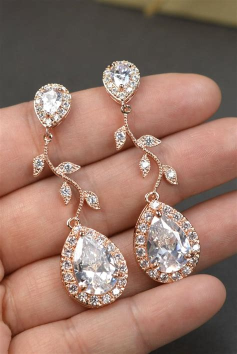 rose gold crystal bridal earrings wedding jewelry set