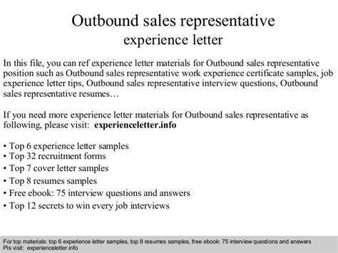 Claims Representative Questions by Outbound Sales Representative Experience Letter