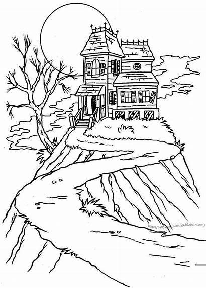 Coloring Halloween Pages Haunted Drawing Colorings Sheets