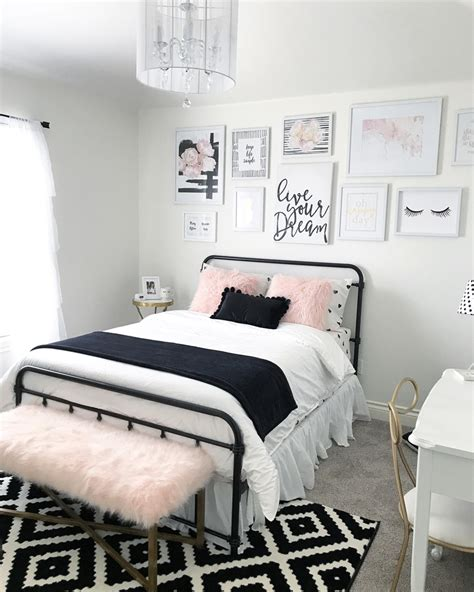 Black And Blush Pink Girls Room Decor  Black And White