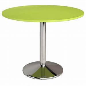 Table De Cuisine Ronde : table ronde de cuisine en couleur verte avec pied central en metal meilleur prix ~ Teatrodelosmanantiales.com Idées de Décoration