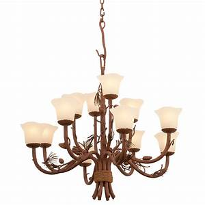 Rustic, Chandeliers, Ponderosa, Chandelier, With, 12, Lights