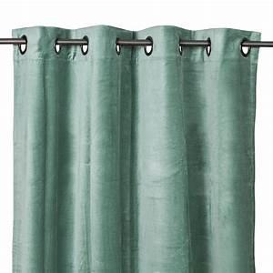 Rideau Velours Vert : rideau oeillets en velours de coton delhi c ladon harmony 300 cm decoclico ~ Teatrodelosmanantiales.com Idées de Décoration