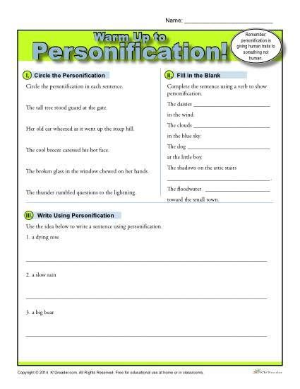 personification warm up activity k12