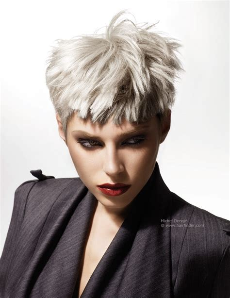 Short silver hair with cropped sides and short bangs
