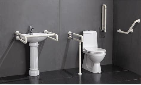 accessible wood stair handicap toilet grab bar