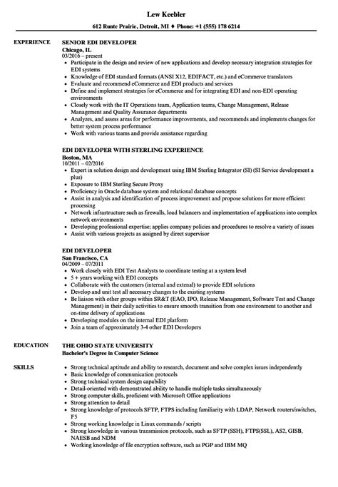 edi developer resume samples velvet jobs