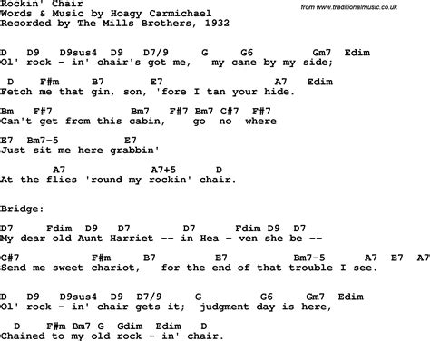 Song Lyrics With Guitar Chords For Rockin' Chair