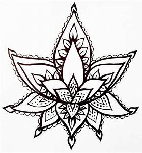 Lotus Flower Temporary Tattoo Hand Drawn Henna Style