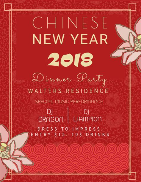 chinese  year party invitation template postermywall