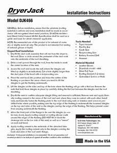 Dryer Jack  Model Djk466  Installation Instructions
