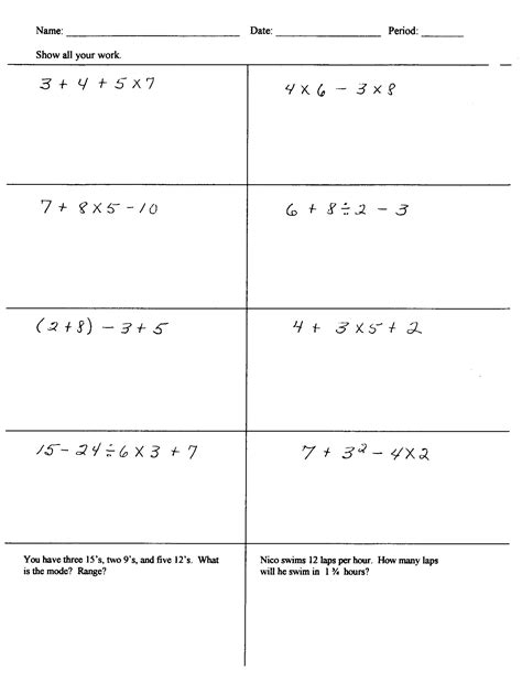 order of operations pemdas practice worksheets answer key