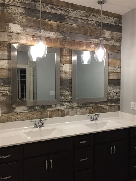 Small Bathroom Wall Lights by Master Bath Vanity Sink Barn Wood Accent Wall And