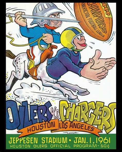 Houston Oilers 1961 Afl Champions Poster Of Game Program