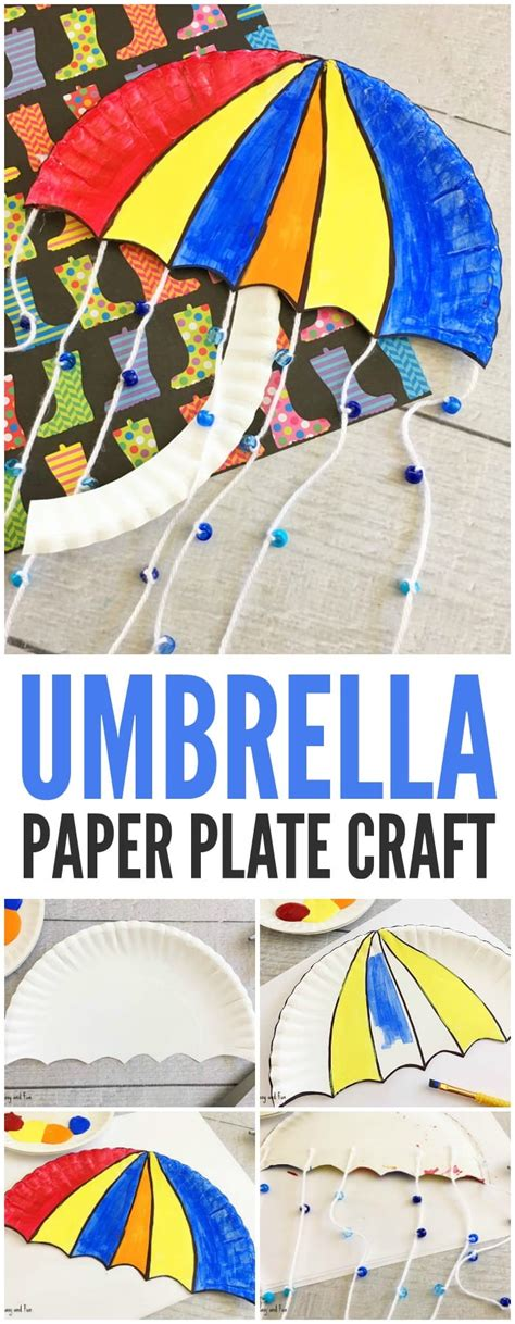 umbrella paper plate craft weather crafts  kids