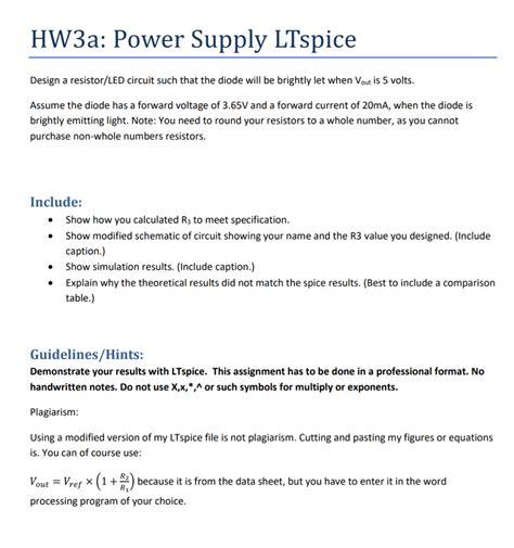 Solved Hwa Power Supply Ltspice Design Resistor Led