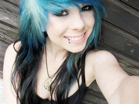Blue Hair Black Bow Scene Medium Hair Styles Ideas