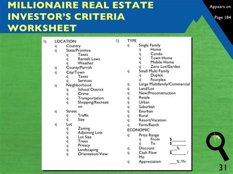 millionaire real estate investor worksheets mrei