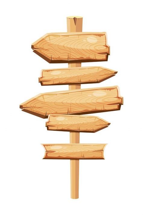 wooden planks blank cartoon sign board premium vector
