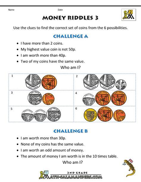 free maths worksheets uk money riddles 3 homeschool