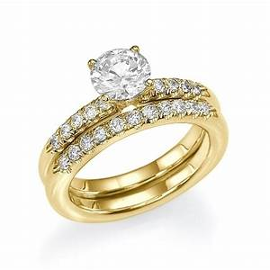 Bridal set round cut diamond bridal ring set 18k yellow for 18k gold wedding ring set