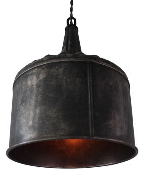 large funnel pendant light black steel rustic pendant