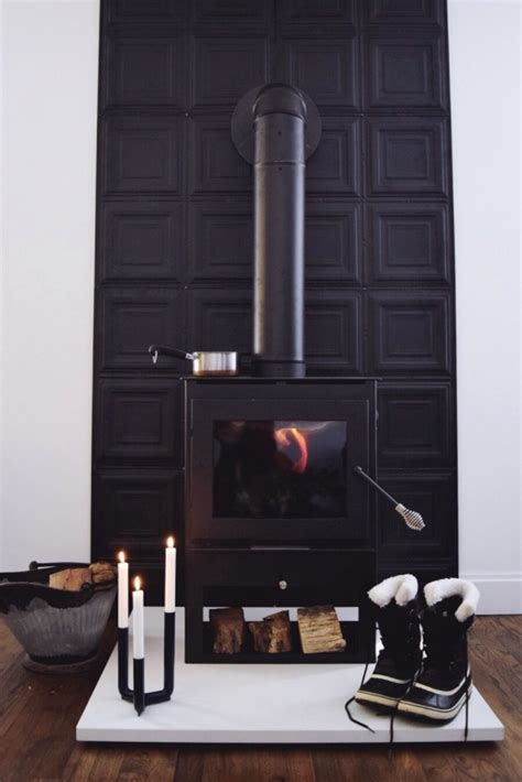 diy  wood stove heat shield  small life